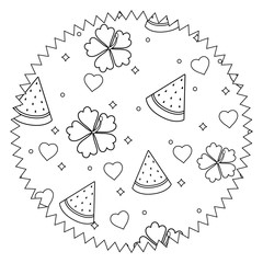 seal stamp with tropical flowers and watermelon pattern over white background, vector illustration