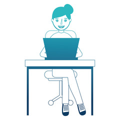 young woman in office chair and desk with laptop computer vector illustration design
