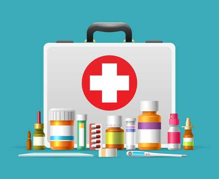 First aid kit. First aid case box vector illustration for emergency services, healthcare and hilfe concepts