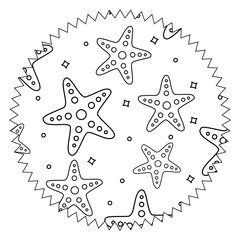 seal stamp with seastars pattern over white background, vector illustration