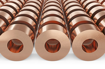 Copper sheets in rolls. Warehouse of copper rolls, isolated on white background, clipping path included. 3d illustration.