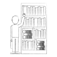 young with shelf of books man avatar character vector illustration design