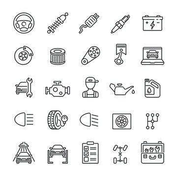 Car Service related icons: thin vector icon set, black and white kit