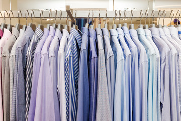 A Lot Of Shirts On A Hanger. Business Clothes For Men.
