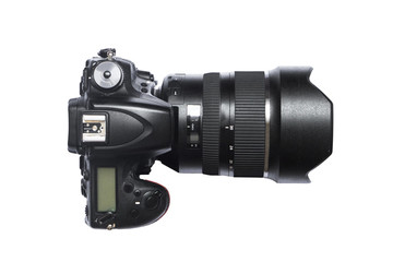 Selective focus Top view of Professional DSLR Camera with DSLR lens equipment isolated white backgroud with clipping path