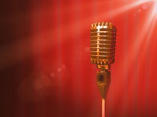 Vintage golden microphone and red curtain backdrop. 3D render illustration.