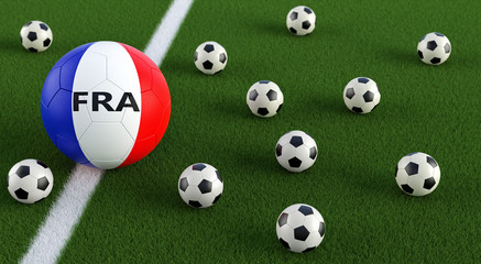Soccer ball in french national colors on a soccer field. 3D Rendering