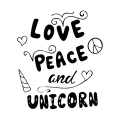 Love, peace and unicorn typography poster.