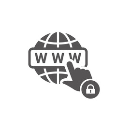 WWW icon with padlock sign. WWW icon and security, protection, privacy symbol