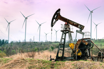 windmills and working oil pump