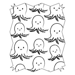 sketch of abstract frame with cute octopus pattern over white background, vector illustration
