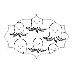sketch of arabic frame with cute octopus pattern over white background, vector illustration