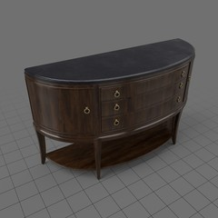 Curved wooden credenza