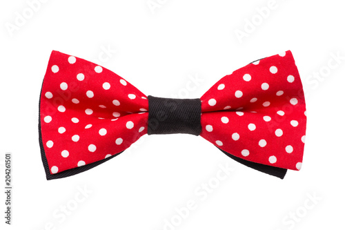 Red Dot Bow Tie Isolated On White Background Papillon Rosso A Puis