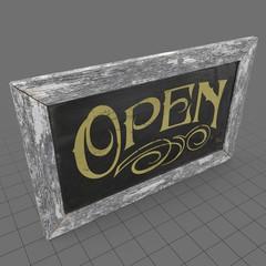Vintage chalkboard open sign