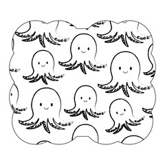 decorative frame with cute octopus pattern over white background, vector illustration