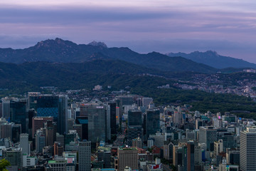 """Seoul City the capital of South Korea. View from the N Seoul Tower or """"Namsan Tower""""."""