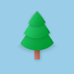 Vector illustration, green christmas fir tree in papercut style with transparent shadows isolated on blue background