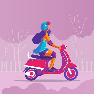 a girl riding a motorbike