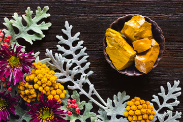 Yellow Jasper with Dusty Miller, Clustered Everlasting and Chrysanthemums