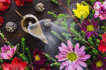 Burning Incense with Summer Flowers