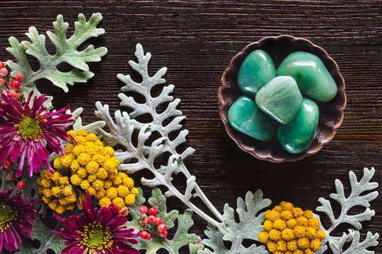 Green Aventurine Stones with Dusty Miller, Clustered Everlasting and Chrysanthemums