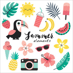 Cute vector set of summer holiday cartoon elements in blush pink and mint green with toucan, tropical leaves and flowers, summer fruits and ice creams, camera and sunglasses. Isolated on white.