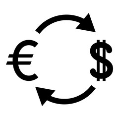 Currency exchange icon black color illustration flat style simple image