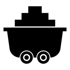 Mine cart or trolley of coal icon black color illustration flat style simple image