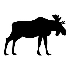 Moose elt icon black color illustration flat style simple image