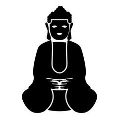 Buddha icon black color illustration flat style simple image