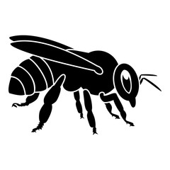 Bee icon black color illustration flat style simple image