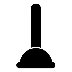 Toilet plunger sanitary tools household cleaning icon black color illustration flat style simple image
