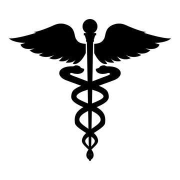 Caduceus health symbol Asclepius's Wand icon black color illustration flat style simple image