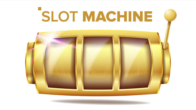 Slot Machine Vector. Golden Lucky Empty Slot. Gambling Poster. Spin Object. Fortune Jackpot Casino Illustration