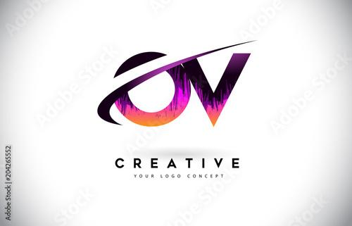 Ov O V Grunge Letter Logo With Purple Vibrant Colors Design
