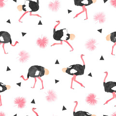 Seamless trendy pattern with watercolor ostrich, palm leaves and triangles.