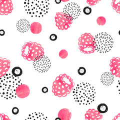 Abstract seamless raspberry pattern in pink and black color. Watercolor raspberry and dots on white background.