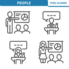 People Icons. Professional, pixel perfect icons EPS 10 format. Designed at 32x32 pixel size. 5x magnification for preview.