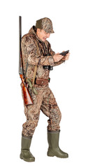Door stickers Hunting Full length portrait of a male hunter with double barreled shotgun Isolated on white background. hunting and people concept
