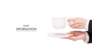 Cup of coffee tea and saucer in female hand business woman pattern