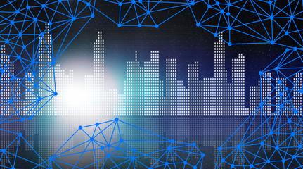 Fototapeta sieć połaczeń - miejska grafika z błękitną siatką linii połączonych punktami i panoramą wielkiego miasta w tle obraz