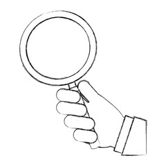 hand with search magnifying glass icon vector illustration design