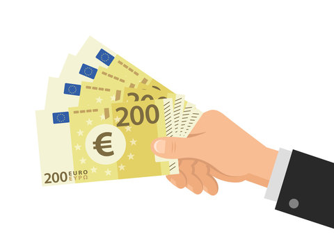 Hand holds money Euro 200 banknotes. Business concept. Isolated on white background. Flat Style. Vector illustration.