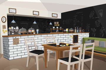 Modern Cafe Interior Empty No People Restaurant Vector Illustration