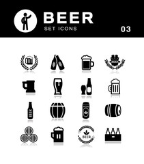 Beer icons set collection.