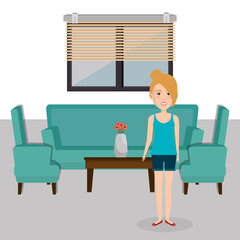 young woman in the living room character scene vector illustration design