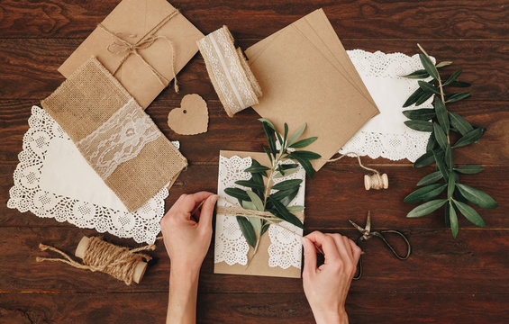 How to make Wedding Invitation. Rustic Diy concept. Handmade handcrafted items Flat lay