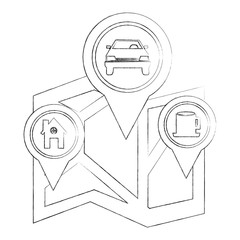 map navigation with pointer markers car home and coffee bar vector illustration sketch