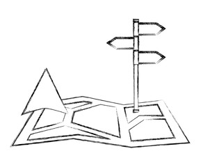 gps navigation map arrow and stand position image vector illustration sketch